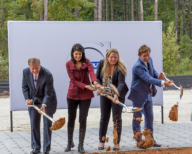 CLICK TO VIEW SLIDESHOW: U.S. Sen. Lindsey Graham (from left), Gov. Nikki Haley, Volvo Charleston General Manager Katarina Fjording and Lex Kerssemakers, Volvo Cars of North America president and CEO, broke ground on the S.C. plant Friday. (Photo/Kathy Allen)